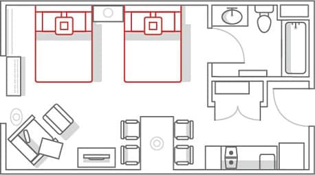 Marriott TownePlace Suites 2 Bedroom Suite Floor Plan