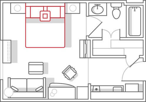 Marriott TownePlace Suites Studio Floor Plan
